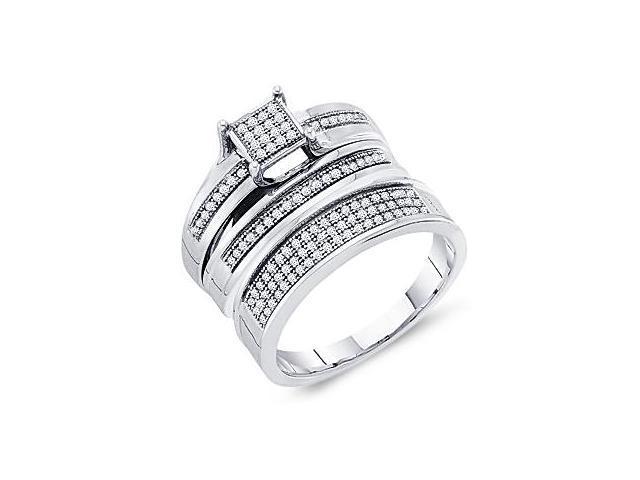 Diamond Engagement Rings Set Wedding Bands Yellow Gold Men Lady .35ct