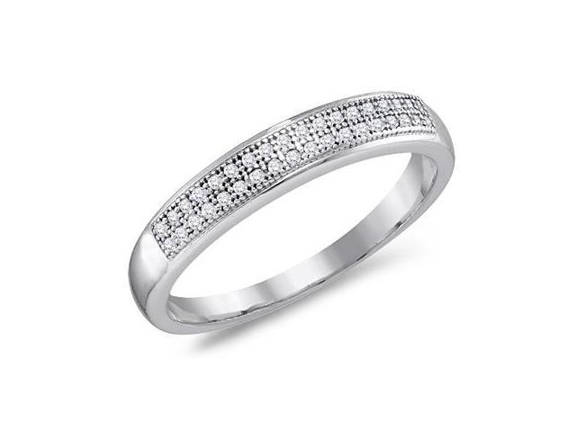 Diamond Wedding Band Micro Pave 10k White Gold Anniversary Ring