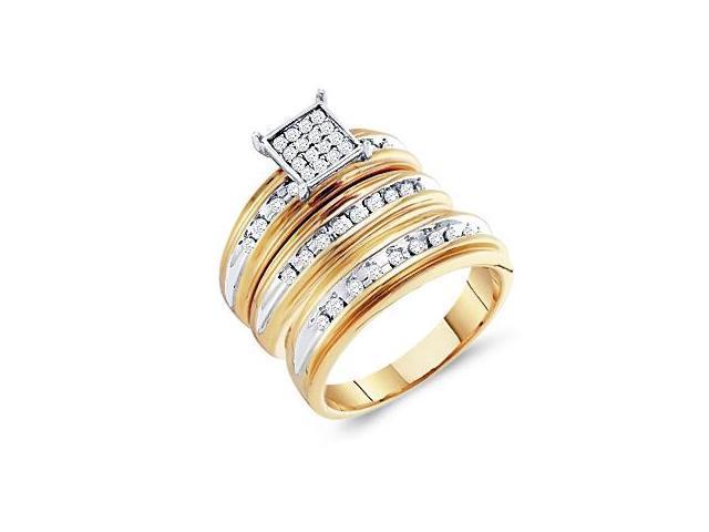 Diamond Rings Set Engagement Wedding Bands Yellow Gold Men Lady .42ct