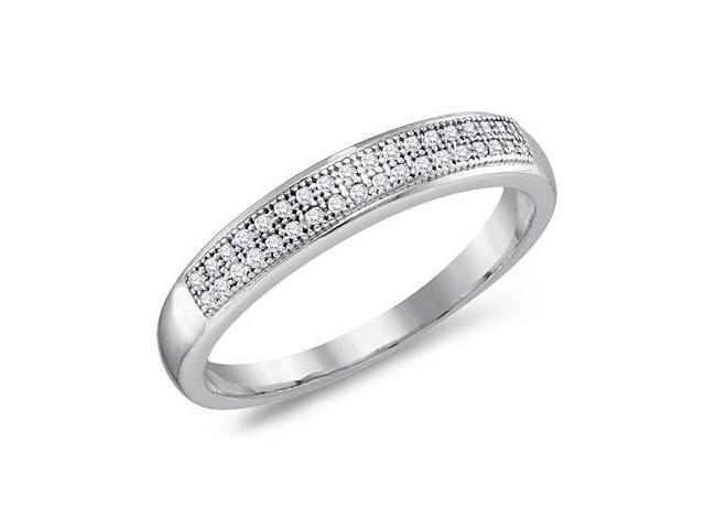 Diamond Wedding Band Micro Pave 10k White Gold Anniversary Ring