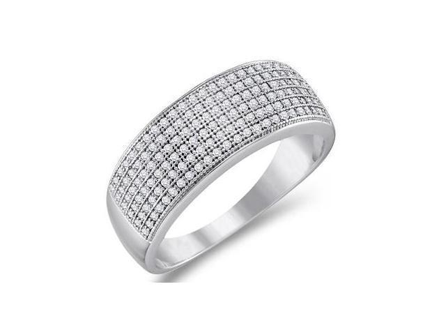Diamond Wedding Band Micro Pave White Gold Anniversary Ring (1/2 ctw)