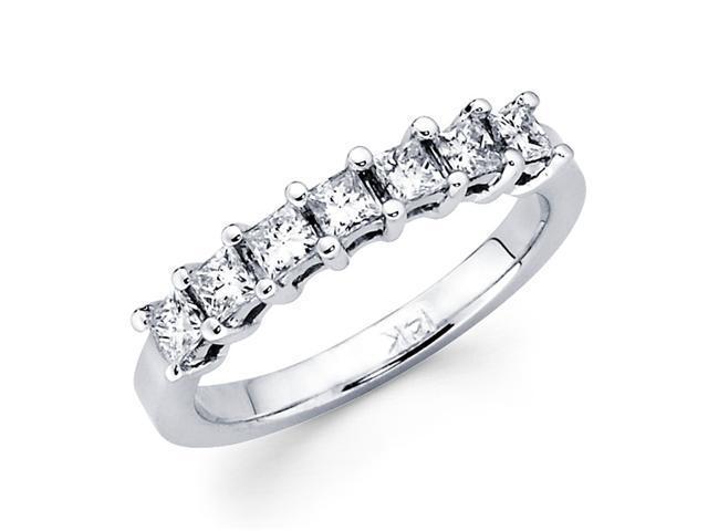 Prong Set Princess Diamond Wedding Ring 14k White Gold Band (1/3 CTW)