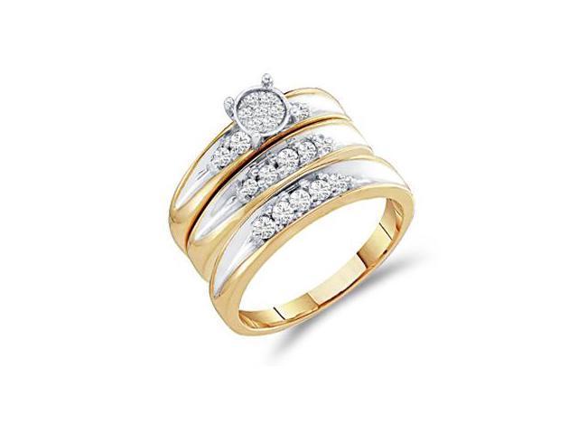Diamond Engagement Rings Set Wedding Yellow Gold Men Lady .40 carat