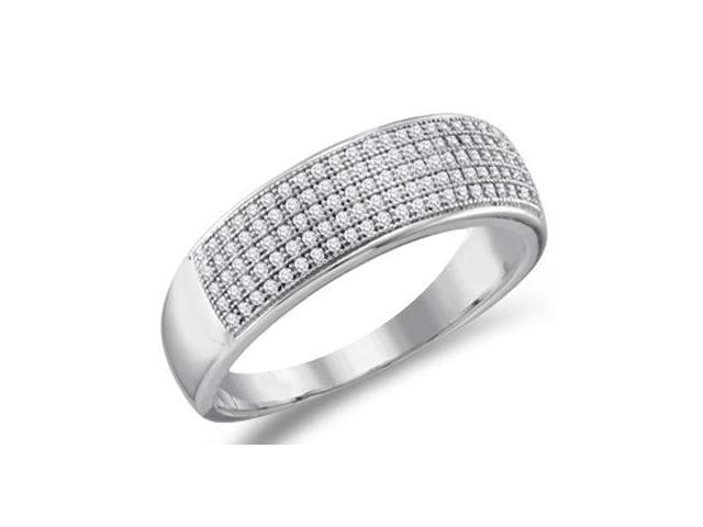 Diamond Wedding Band Micro Pave White Gold Anniversary Ring (1/3 ctw)