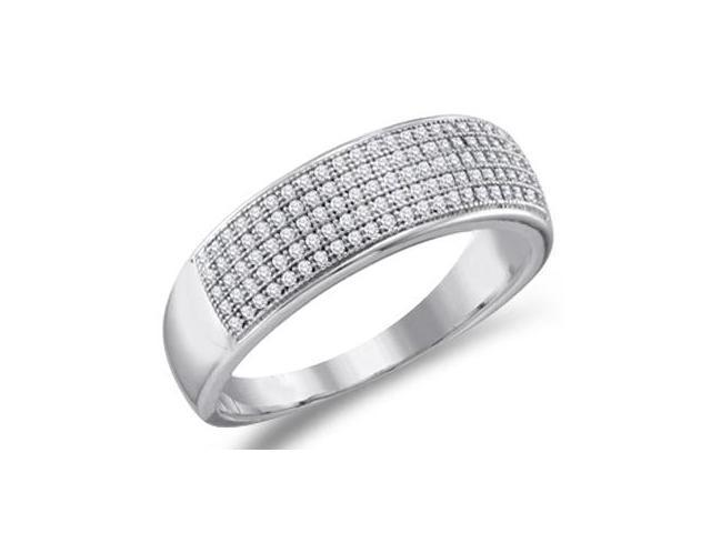 Diamond Wedding Band Micro Pave White Gold Anniversary Ring (1/3 ctw)