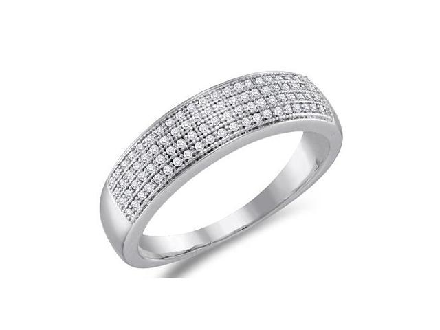 Diamond Wedding Band Micro Pave White Gold Anniversary Ring (1/4 ctw)