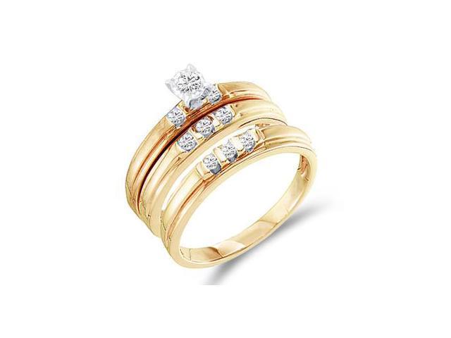 Diamond Rings Engagement Wedding Bands Yellow Gold Men Lady .25 ctw