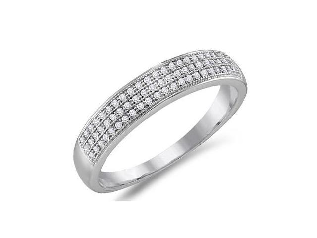 Diamond Wedding Band Micro Pave White Gold Anniversary Ring (1/5 ctw)