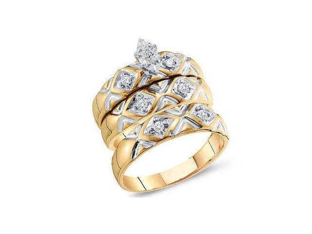Diamond Rings Engagement Wedding Bands Yellow Gold Men Lady .20 ctw