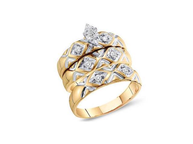 Diamond Rings Engagement Wedding Bands Yellow Gold Men Lady .20 ctw