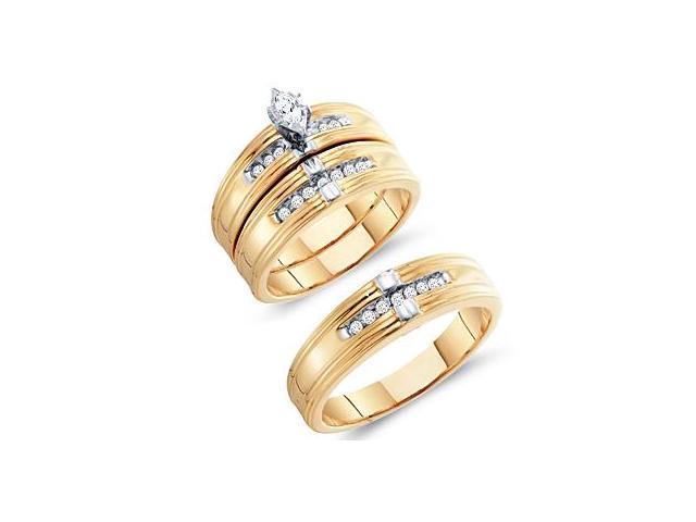 Diamond Rings Bridal Set Engagement Wedding 10k Yellow Gold Men Lady