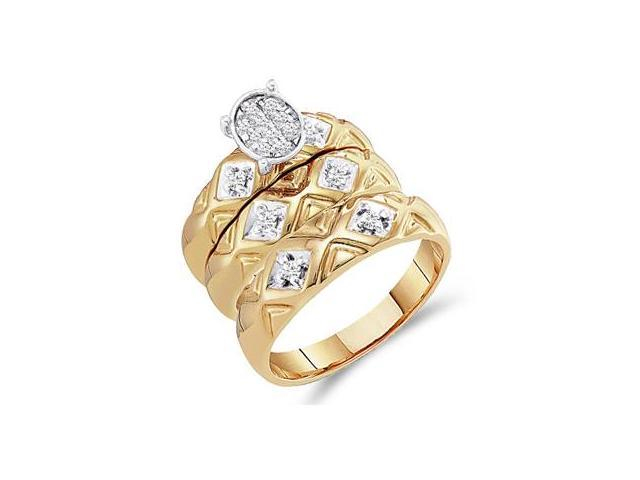 Diamond Engagement Rings Set Wedding Bands Yellow Gold Men Lady .21 CT
