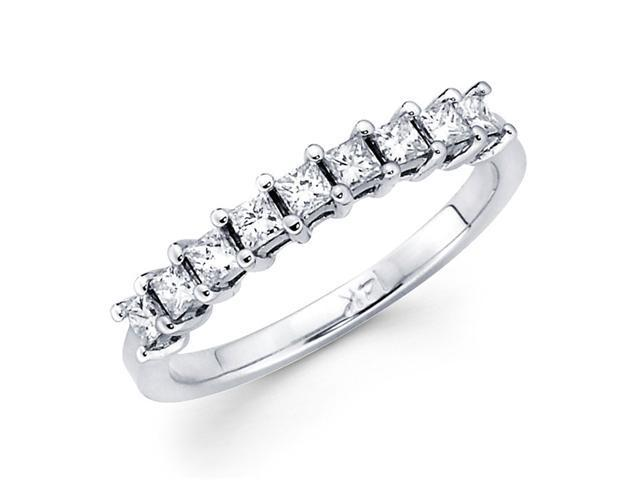 Princess Diamond Anniversary Ring 14k White Gold Wedding Band (0.92ct)