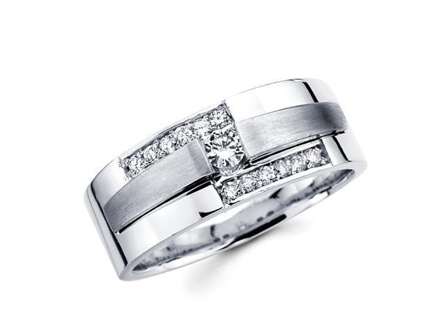Ladies Diamond Wedding Band 14k White Gold Anniversary Ring (1/4 CTW)