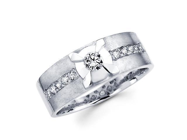 Round Diamond Wedding Ring 14k White Gold Anniversary Band (3/8 Carat)