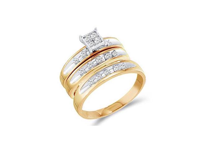 Diamond Engagement Rings Set Wedding Bands Yellow Gold Men Lady .48ct