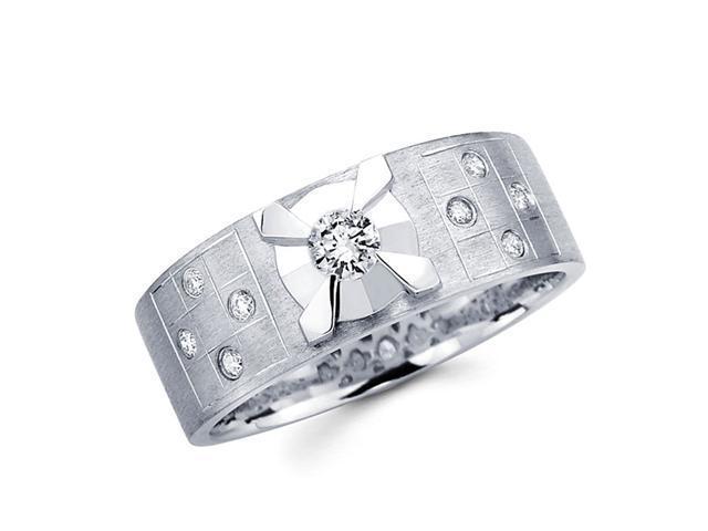 Ladies Round Diamond Wedding Band 14k White Gold Ring (1/4 Carat)