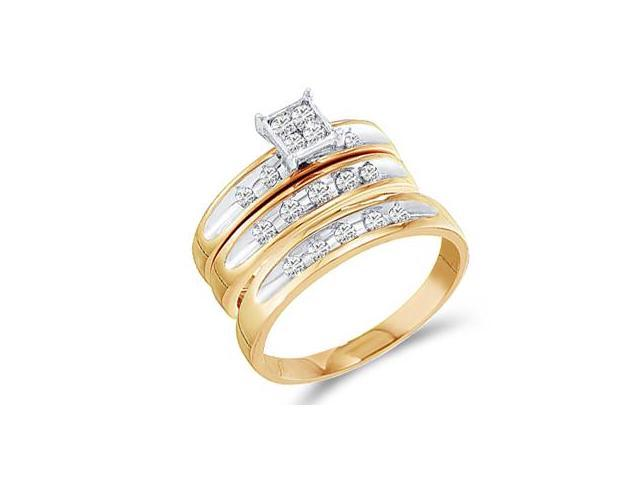 Diamond Engagement Rings Set Wedding Bands Yellow Gold Men Lady .48ct