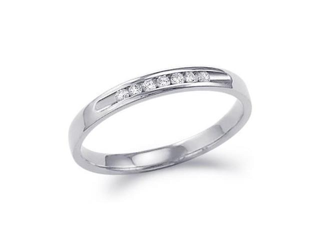 Diamond Ring Wedding Band 14k White Gold Ladies (0.12 Carat)