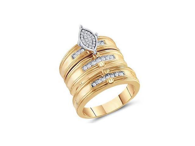 Diamond Engagement Rings Set Wedding Yellow Gold Men Lady .25ctw