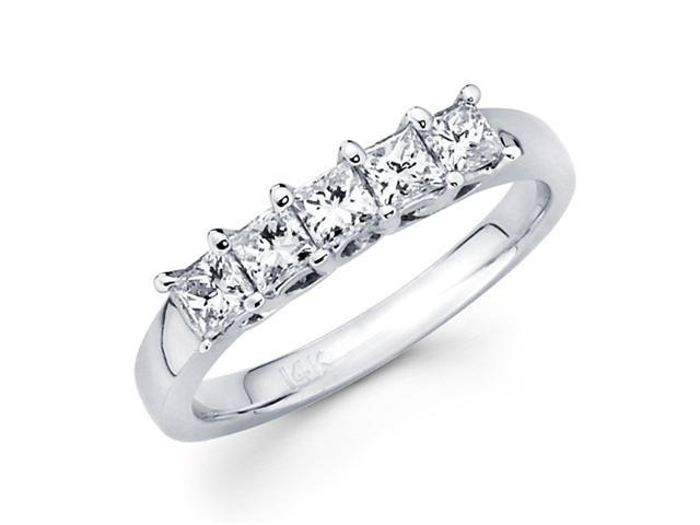 5 Stone Princess Diamond Wedding Band 14k White Gold Ring (0.90 Carat)