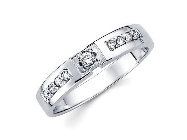 Round Diamond Wedding Ring 14k White Gold Anniversary Band (1/7 Carat)
