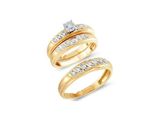 Diamond Rings Engagement Wedding Bands Yellow Gold Men Lady .25ctw