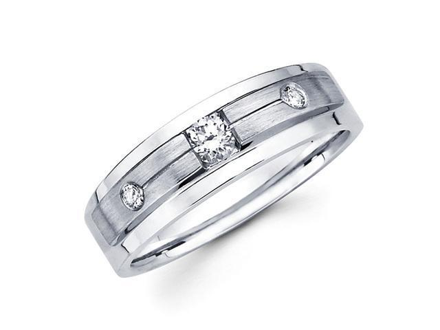 Round Diamond Wedding Band 14k White Gold Anniversary Ring (1/5 Carat)