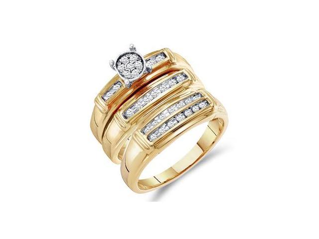 Diamond Rings Set Engagement Wedding Bands Yellow Gold Men Lady .24ct