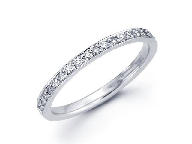 Wedding Diamond Band 14k White Gold Anniversary Ring Pave Set (1/5 CT)