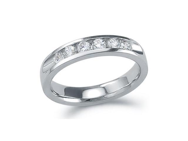 Diamond Wedding Ring 14k White Gold Bridal Anniversary Band (0.53 CTW)