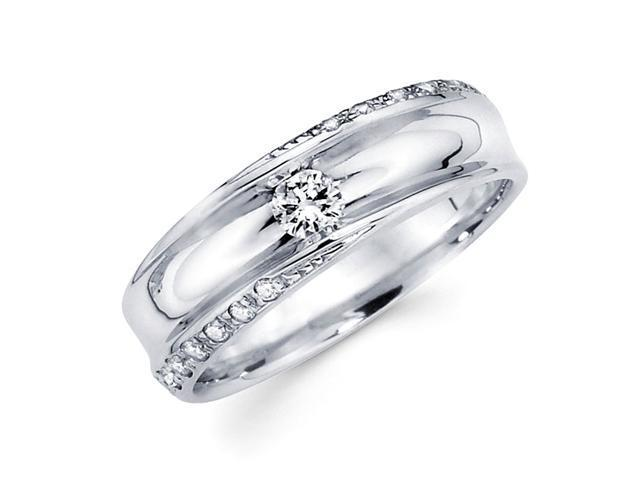 Round Diamond Wedding Ring 14k White Gold Anniversary Band (1/3 Carat)