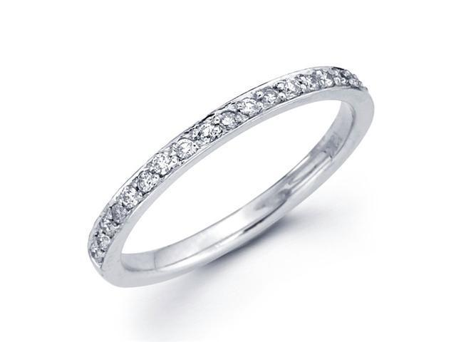 Wedding Diamond Band 14k White Gold Anniversary Ring Pave Set (1/5 CT)