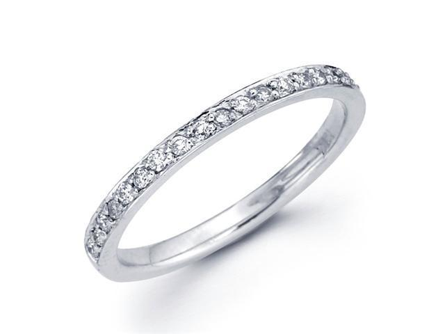 Diamond Wedding Ring 14k White Gold Anniversary Band Pave Set (1/5 CT)