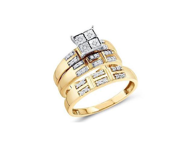 Diamond Engagement Rings Set Wedding Yellow Gold Men Lady .24 ctw