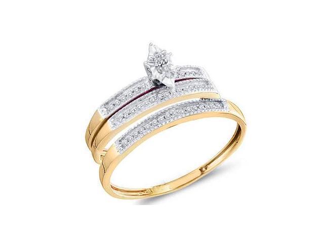 Diamond Engagement Rings Set Wedding Bands Yellow Gold Men Lady .18ct