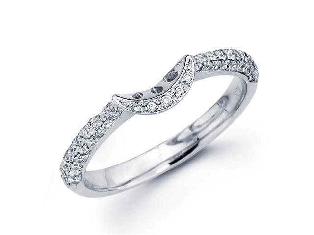 Wedding Diamond Band 18k White Gold Anniversary Ring Half Basket Pave