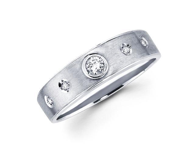 Ladies Diamond Wedding Band 14k White Gold Anniversary Ring (1/10 CTW)