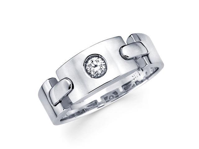 Ladies Solitaire Diamond Wedding Band 14k White Gold Ring (1/10 Carat)