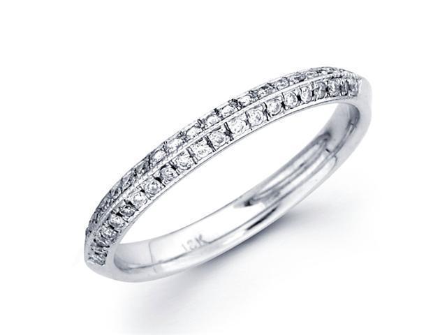 Diamond Wedding Band 18k White Gold Anniversary Ring Pave Set (1/4 CT)