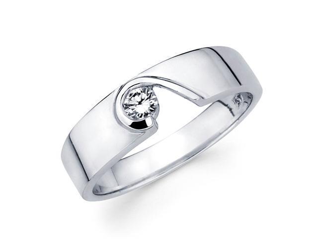 Womens Solitaire Diamond Wedding Ring 14k White Gold Band (1/7 Carat)