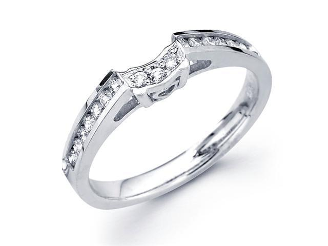 Wedding Diamond Band 18k White Gold Ring Heart Accent 1/4 CT