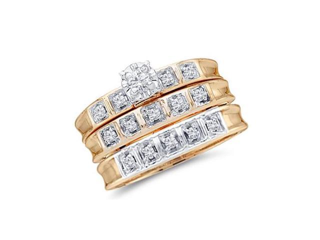Diamond Engagement Rings Set Wedding 10k Yellow Gold Men Lady .25ctw