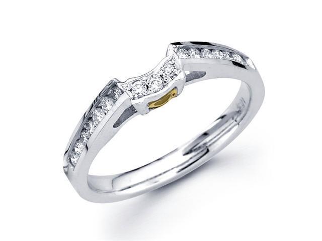 Diamond Wedding Band 18k Multi-Tone Gold Ring Yellow Heart Accent