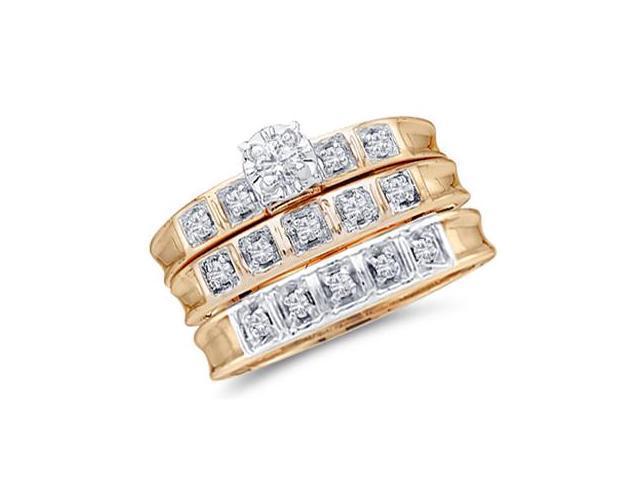 Diamond Engagement Rings Set Wedding 10k Yellow Gold Men Lady .25ctw