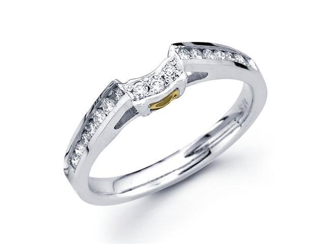 Diamond Wedding Band 18k Multi-Tone Gold Ring Yellow Heart Accent