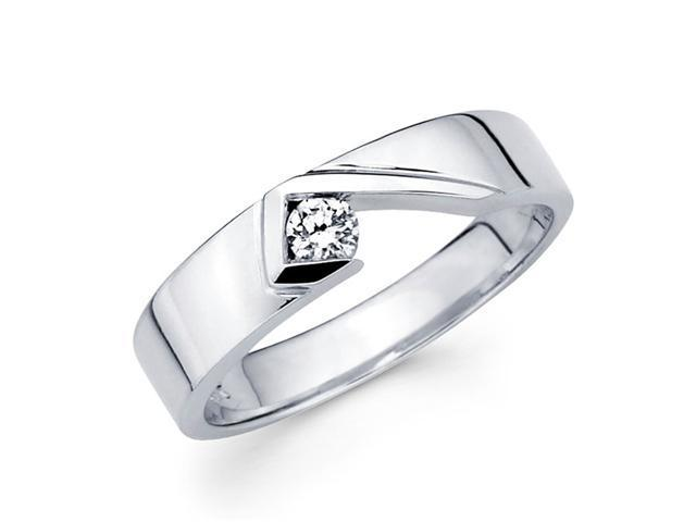 Ladies Solitaire Diamond Wedding Band 14k White Gold Ring (1/10 Carat)