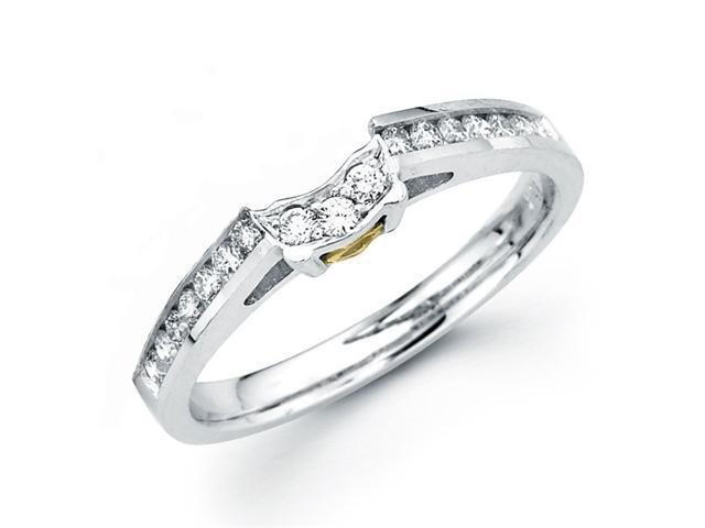 Diamond Wedding Ring 18k Multi-Tone Gold Band Yellow Heart Accent