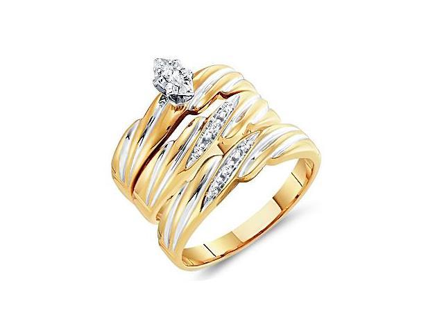 Diamond Engagement Rings Set Wedding 10k Yellow Gold Men Lady .10 ctw