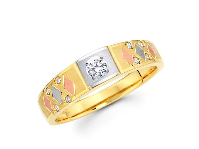 Women's Diamond Wedding Band 14k Multi-Tone Gold Ring (0.13 Carat)